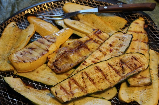 Squash cooked on the grill gets lovely grill marks on it.