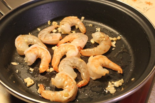 sautéing the shrimp.