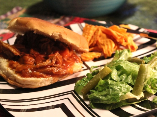 Pulled BBQ Pork on a bun.