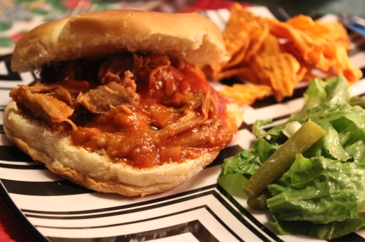 Pulled pork with Carolina CoCola BBQ sauce.
