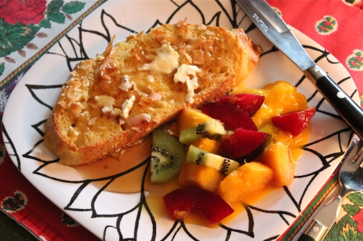 Baked Coconut French Toast with Fruit Compote