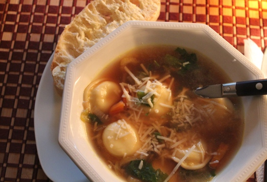 Ravioli and vegetable soup.