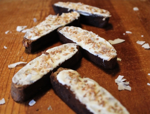 I spread chocolate on only one side of some of them, and sprinkled with coconut.