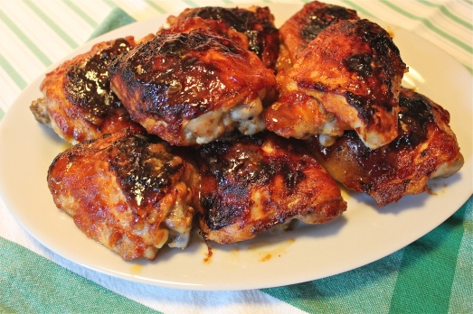 Chicken with honey-chipotle BBQ sauce.