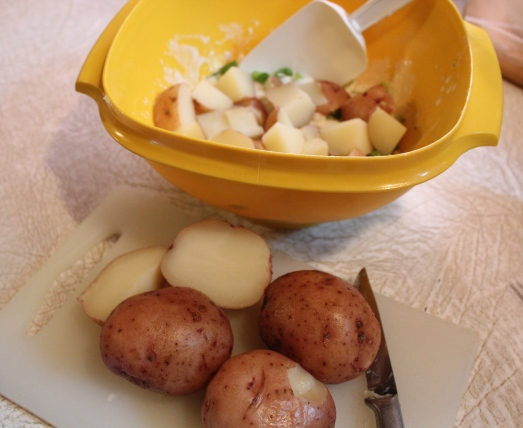 Red-skin potatoes cooked tender.