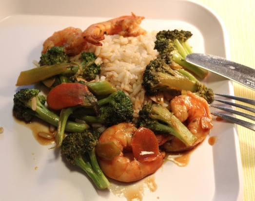 Shrimp and broccoli stir-fry.