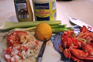 lobster, celery, scallions, lemon, and mayonaise dressing