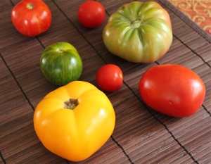 Heirloom tomatoes in many sizes and colors.