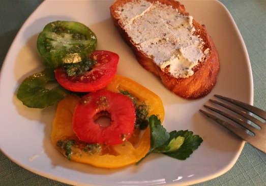 Heirloom Tomato Salad with Goat Cheese Crostini