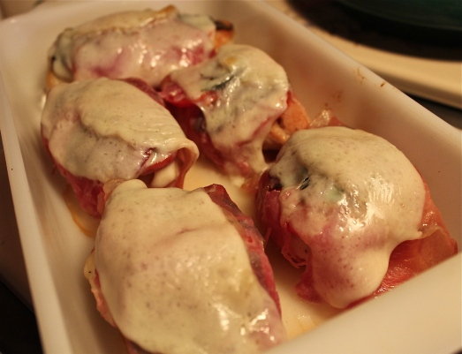 Prosciutto-wrapped chicken breasts.