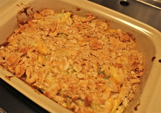 Summer squash casserole with crumb topping.