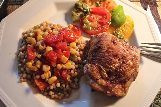 Served with Israeli couscous, and heirloom tomato salad.