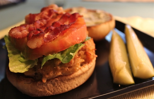 Crab Cakes with BLT topping.  Oh, Yum!