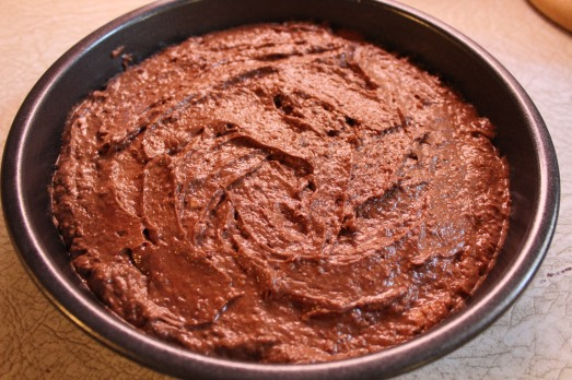 Pour into a round baking pan.