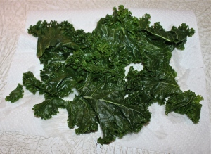 Dry kale after blanching.