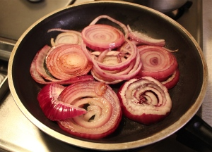 Brown onions in a little oil.