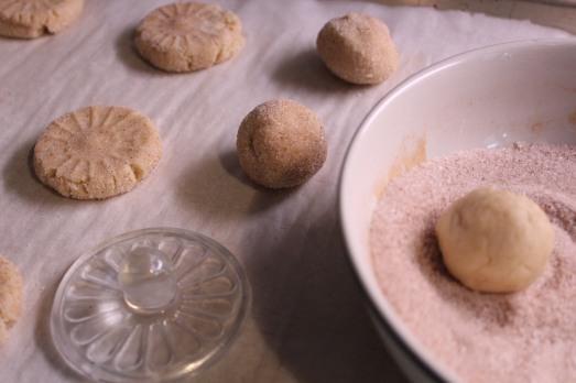 Roll each ball of dough in the sugar mixture, then flatten.