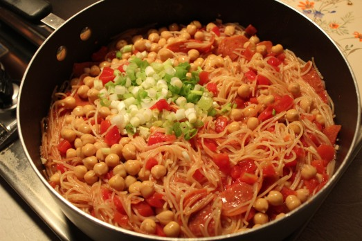 Add chickpeas and scallions.