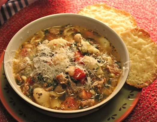 Tuscan Sausage Soup  with Shell Pasta and White Beans.