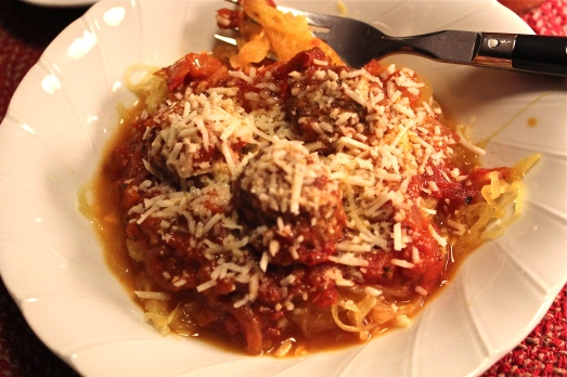 Serve strands of squash with sauce and meatballs.