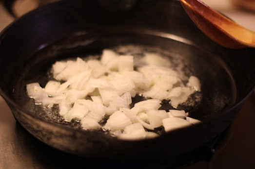 Sauté onions in butter.