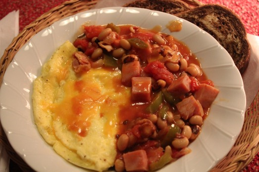 Omelette with Bacon, Ham and Beans