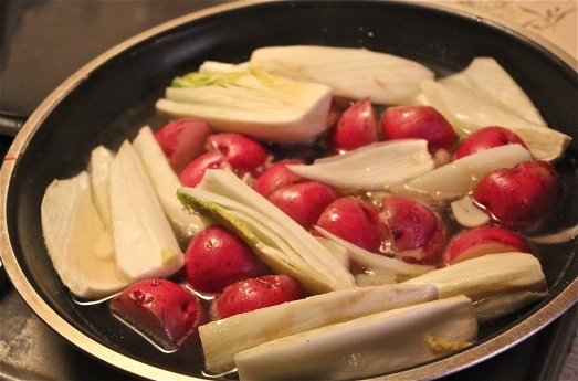 Add fennel and potatoes to the skillet.