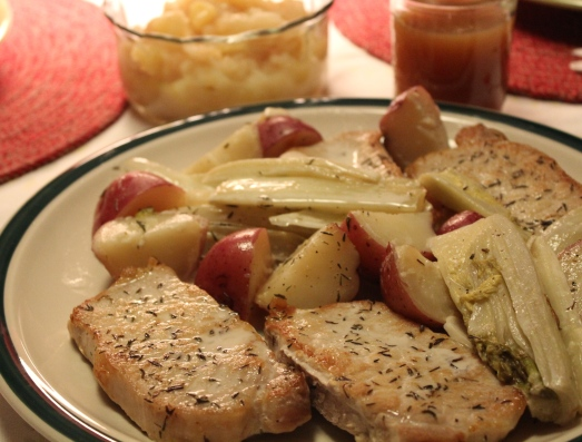 Served with sautéed apples, a wonderful week night meal.