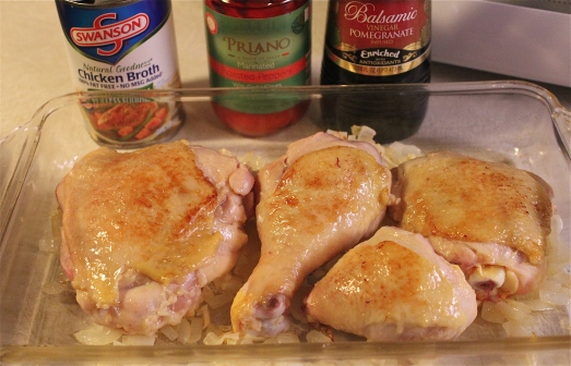 Pre-browning the chicken before baking.