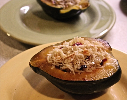 Squash half, filled with rice stuffing.
