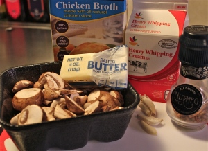 What you need for the mushroom sauce.