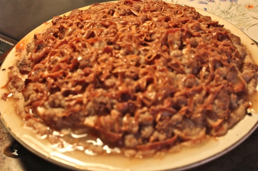 Sour Cream Apple Pie with Norwegian Gjetost Cheese.