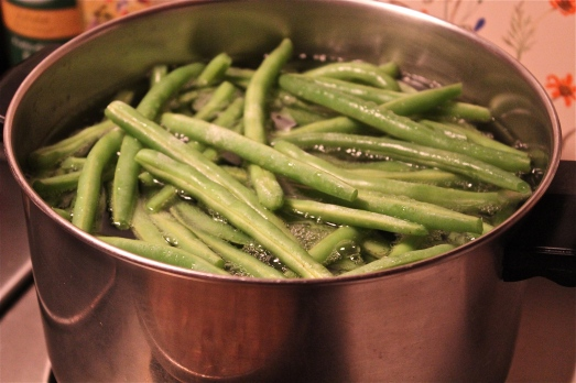 Cooking the green beans.