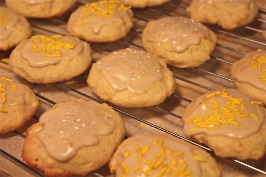 Glaze and decorate cookies.