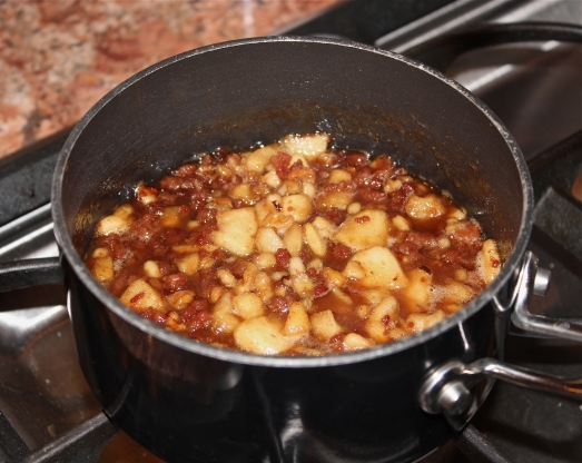 Cooking up the apple mixture.