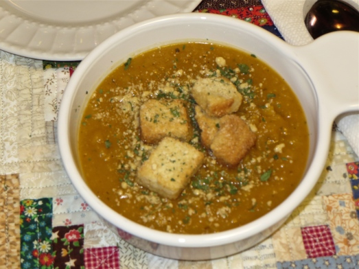 Top soup with Parmesan croutons and enjoy.