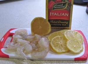 Shrimp, lemons, salad dressing mix.