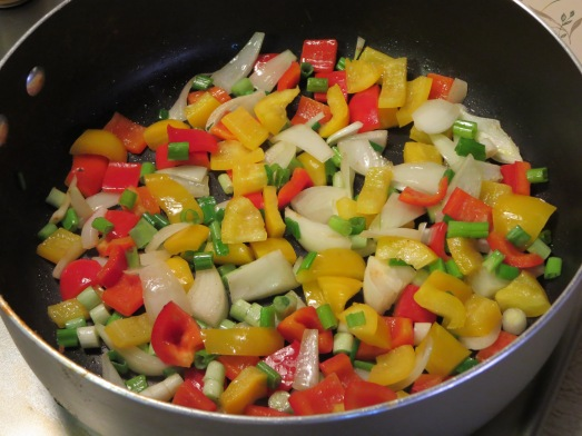 Sautéing the veggies.