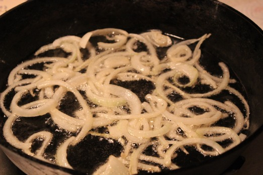 Fry onions in a single layer.  Don't crowd the pan.