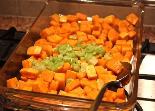 Roasted squash with celery added.