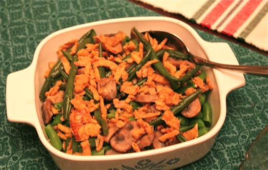 Green Beans and Mushrooms with Fried Onions