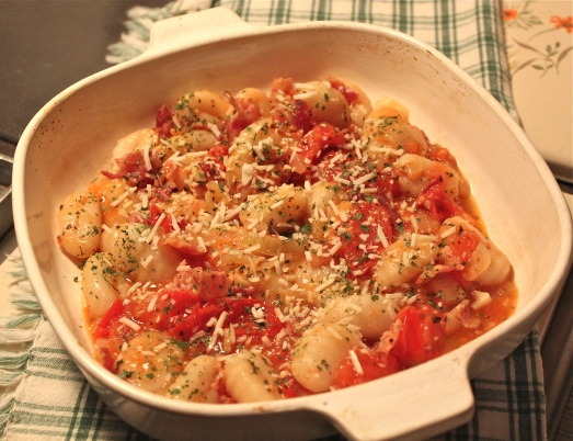 Gnocchi with Bacon and Tomatoes.
