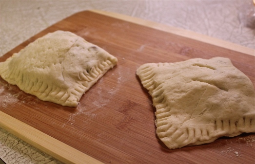 Fold dough over filling and press edges to seal.