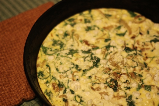 Onion and Arugula Frittata with Goat Cheese