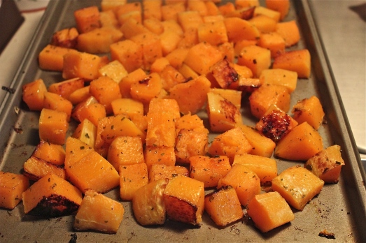 Roasted squash pierces easily and has some browned edges.