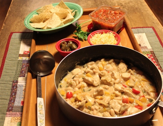 White Chicken Chili with all the extras.