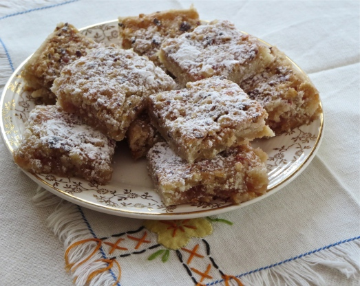 Cut into squares and dust with powdered sugar.