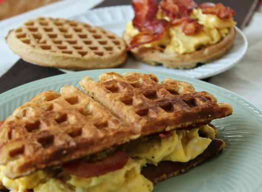 Whole grain buttermilk waffles used to make a breakfast sandwich.