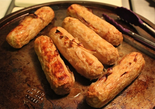 Sausages pre-browned under the broiler.
