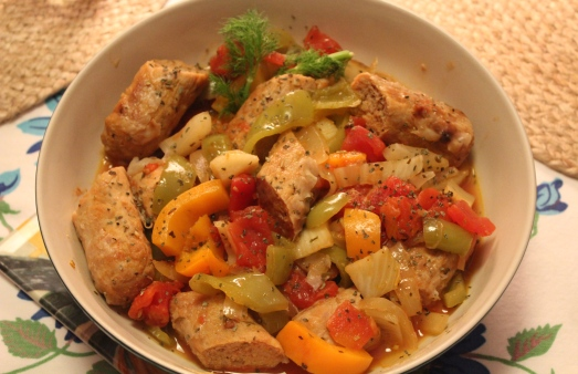 Turkey Sausage with Peppers